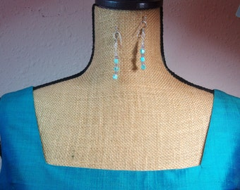 Handmade Natural Turquoise Gemstones and .925 Silver Earrings