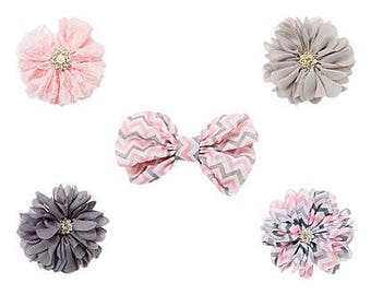 Five set of Hair Clips, Bow and Flower hair clip set with pink, gray, and white