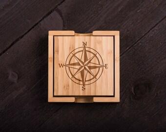 nautical style Wooden Coasters, Wood Burned, Custom Bamboo Coaster Set, Wedding gift for Couple, Shower, Corporate Gift Kitchen Decor #5043