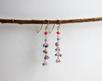 Ruby and Purple Amethyst 24K Gold Plated Dangle Earrings