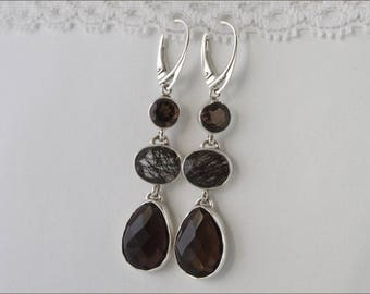 Earrings long dangling smoky quartz 925/1000 silver rutilated quartz stones