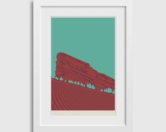"""Red Rocks Poster (2nd Ed) • 12""""x18"""" • Colorado Mountain Venue Concert Art Print Gift Decor Silkscreen Limited Edition Nature Outdoors"""