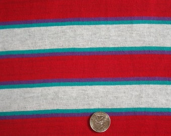 New deep red, heather and turquoise yarn dyed stripe on cotton jersey knit fabric 1 yard