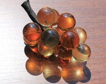 Beautiful Vintage Golden Amber Lucite Grapes on Varnished Wood