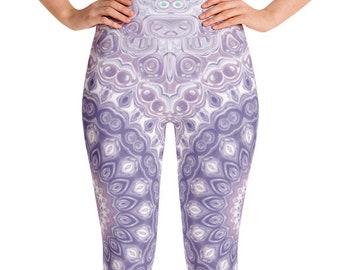 Purple Leggings High Waist Yoga Pants, Women's Printed Leggings, Unique Mandala Leggings