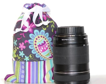 CUSTOM Size for Lenses dSLR camera Drop in Bag Pouch Gift for Photographer