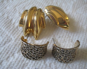 5 Dollar Listing  2 Pairs Gold Plated Pierced Post Earrings