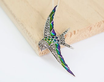 Hebe Swallow Necklace, Sterling Silver, Swallow Pendant, Swallow Jewelry, Marcasite, Enamel, Personalise Swallow, Initial
