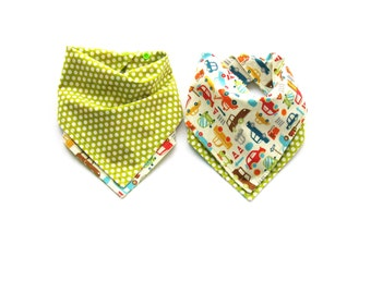 Boys Bandana  Bib  - Reversible Cars/Trucks  with Green  Dots - One Size Adjustable Baby Bib with Snaps - Reversible Drool Bib > 100% Cotton
