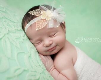Gold leaf headband, baby girls headband, newborn photography, flower girls, photo prop, baptism, vintage headband, soft stretch headband