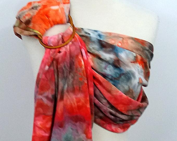 Broken twill ring sling -100% organic cotton- hand dyed- baby wrap - orange, red, blue, brown