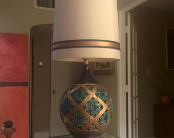 Epic vintage mid century dual lighted blue and gold table lamp