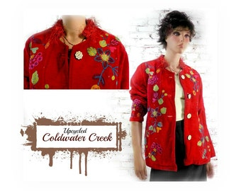 Red jacket , tapestry jacket , embellished jacket,  red Boho jacket , red coat , red embroidery jacket ,red upcycled coat ,  # 15