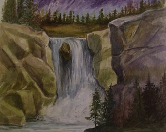 Purple Mountain Falls,16x20 Original Watercolor,ONE OF A KIND, Not a Print,