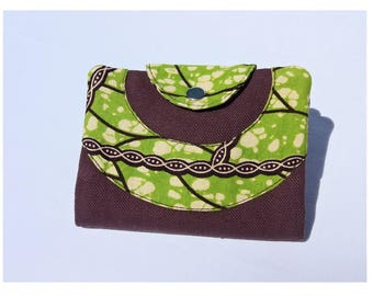 Wallet in Brown and green wax fabric