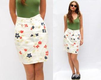 80s Vintage White Denim Pencil Skirt with Flower Print, Mini Denim Skirt, Summer Skirt Floral Hippie Skirt Jean skirt 80s Women Clothing S M