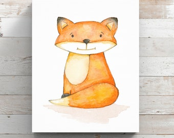 Fox Canvas Art Print from original watercolor painting - Art for your Nursery - Wrapped Canvas Print