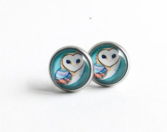 Clous d'oreilles hiboux 10mm en acier inoxydable, Clous d'oreilles hiboux , Boucles d'oreilles bleues, Boucles d'oreilles femmes et filles