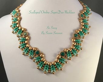 Ombre Scalloped SuperDuo Necklace Tutorial