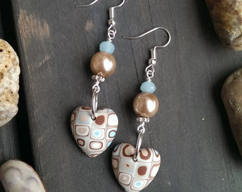 Retro - blue hearts  -earrings