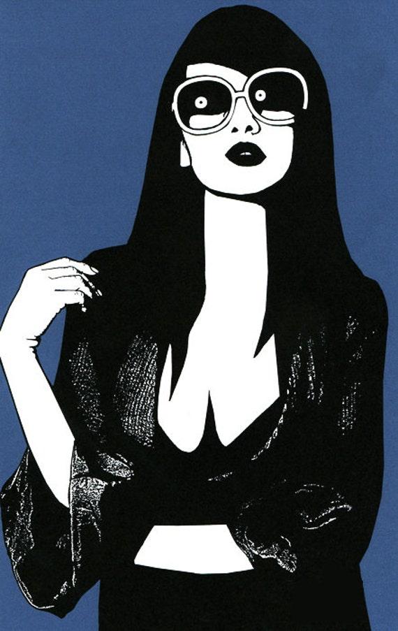 sunglasses woman beauty art print wall art home decor fashion pop art illustration, Modern urban womans face, blue and white 80s style