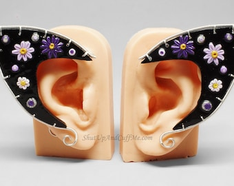 Purple Flower Elf Ear Cuffs, Black Elf Ear Cuffs, Elf Ear Wrap, Polymer Clay Elf Ears - PAIR