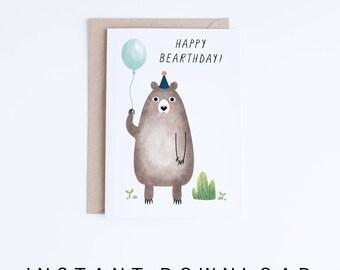 Printable Birthday Cards, Kids Birthday Card Instant Download, Birthday Bear Card, Digital Cards for Nephew, Children Birthday Cards, Boys