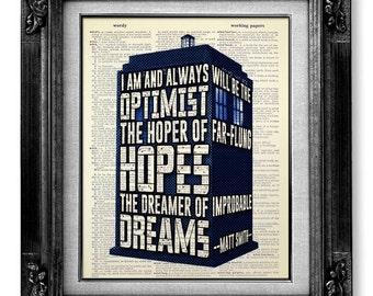 Doctor Who - DOCTOR WHO TARDIS Art - Dr Who Tardis Gift - Doctor Who Geekery - Matt Smith Optimist - Dr Who Art - Doctor Who Print -Geek Art