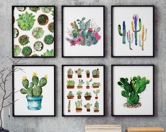 Wall Art Set of 6 - Water Color Cactus Art, Cactus Print Set, Cacti Printable, Cactus Poster, Watercolor Cactus, Printable Wall Art