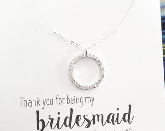 Friendship Necklace, Bridesmaid Necklace, Circle Necklace, Eternity Circle, CZ Cubic Zirconia, Diamond like, Sterling Silver, Thank you Gift