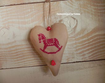 """""""About Christmas"""" embroidered heart to hang"""