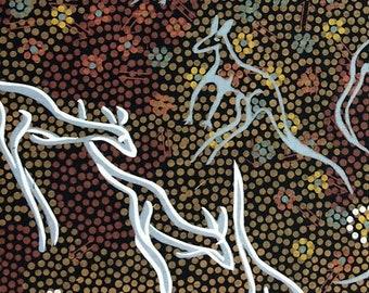 Australian Fabric - Kangaroo Fabric - Aboriginal Fabric - Kangaroo Dreaming Black by Joey Waitairie - Priced by the half yard
