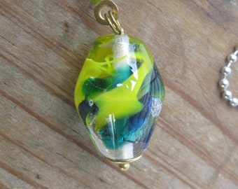 Light Pull,Ceiling Fan Pull, Lampwork Glass Bead, Multicolor, Clear,Yellow, Blue,Green,Teal,Ivory,on gold colored ball chain