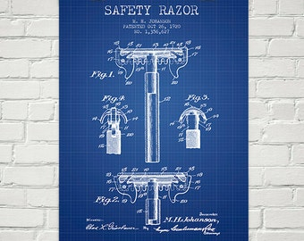 1920 Safety Razor Patent Wall Art Poster, Home Decor, Gift Idea