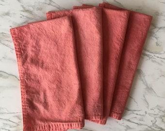 Pink cloth napkin set, four hand dyed reusable napkins, pink cotton napkins, naturally dyed napkins