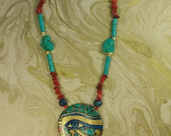 Eye of Ra Handpainted Pendant Necklace