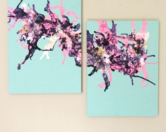 XL Pink Blue Art Abstract Painting Navy Pink Art Original Acrylic Art Diptych Painting Fluid Artwork Gold Pink Painting 18x24 canvas SET