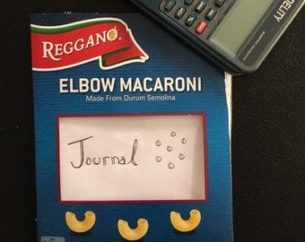 Handmade recycled materials macaroni journal!
