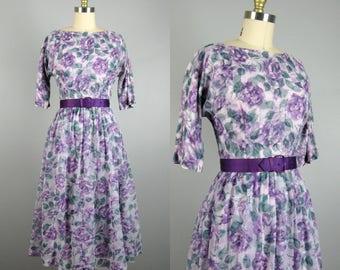 Vintage 1950s Chiffon Dress 50s Purple Floral Rose Print Dress with Purple Satin Belt Size 6/M