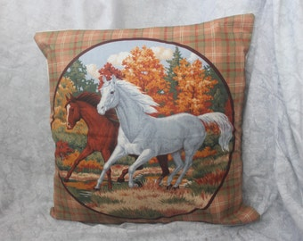 handmade cushion cover with equestrian theme