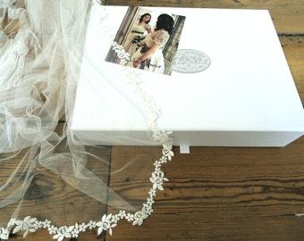 Floral lace edged chapel length long veil boho bride