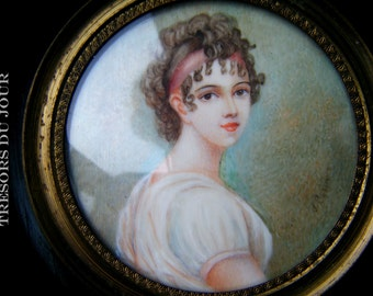 Antique Portrait Miniature Madame Recamier French Directoire Miniature Watercolor Miniature on Ivory Georgian Miniature Framed Paintings