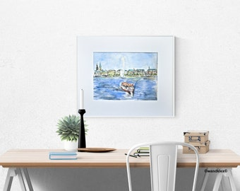 Watercolor Hamburg Alster Fountain Inland Alster Germany framed Art, Hamburg Michel, Alster Fountain City View, urban picture, original