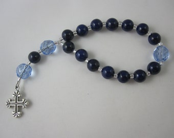 Dark Blue Riverstone and Ice Blue Fire-Polished Glass Chaplet