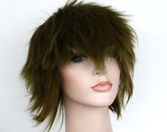 Swamp short spiky green wig. ready to ship.