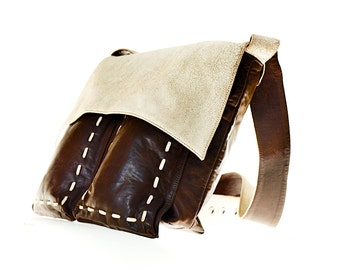Belearica Distressed Leather Crossbody Bag in White & Brown