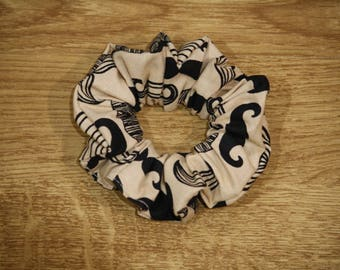 Mustache pattern cotton scrunchie