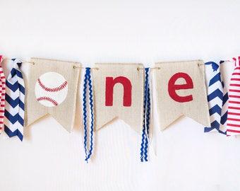 Baseball Birthday High Chair Banner - Baseball Theme Photo Prop - Boy 1st Birthday - Party Supplies - One Banner - Birthday Party Ideas