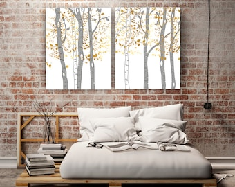 Birch trees wall art large canvas prints extra large tree art faux gold wall art stretched canvas living room art bedroom art nature art