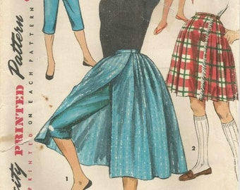 1950s Wrap Skirt and Tapered Pants Toreador Pants or Shorts Simplicity 1231 Waist 27 Inches Women's Vintage Sewing Pattern